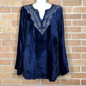 Soft Surroundings Size XS Blue Velvet Tunic
